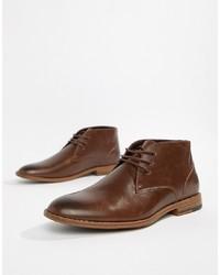 Мужские темно-коричневые кожаные дезерты от New Look