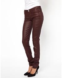 Женские темно-коричневые кожаные джинсы скинни от Wrangler