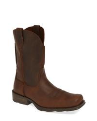 Темно-коричневые кожаные ковбойские сапоги