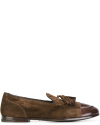 Темно-коричневые кожаные лоферы с кисточками от Alberto Fasciani