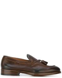 Темно-коричневые кожаные лоферы с кисточками от Doucal's
