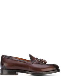 Темно-коричневые кожаные лоферы с кисточками от Santoni
