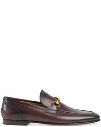 Мужские темно-коричневые кожаные лоферы от Gucci