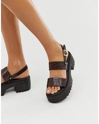 Темно-коричневые кожаные массивные сандалии на плоской подошве от ASOS DESIGN