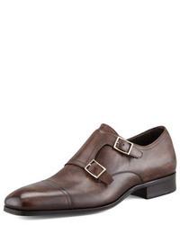 Темно-коричневые кожаные монки с двумя ремешками