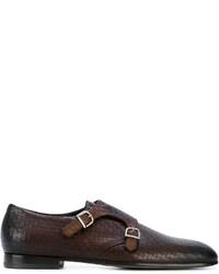 Темно-коричневые кожаные монки с двумя ремешками от Baldinini