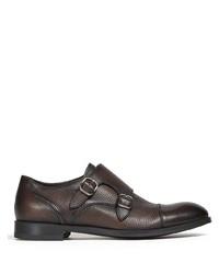 Темно-коричневые кожаные монки с двумя ремешками от Ermenegildo Zegna