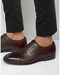 Мужские темно-коричневые кожаные оксфорды от Base London