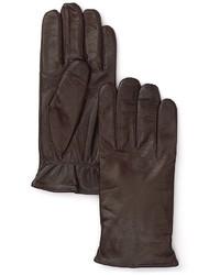 Темно-коричневые кожаные перчатки