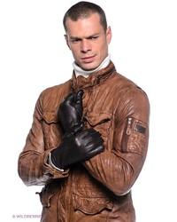 Мужские темно-коричневые кожаные перчатки от Dali Exclusive