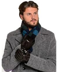 Мужские темно-коричневые кожаные перчатки от Eleganzza