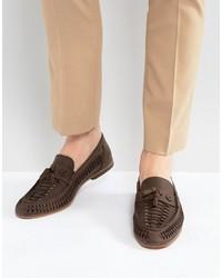 Мужские темно-коричневые кожаные плетеные лоферы от Asos