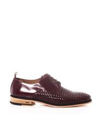 Темно-коричневые кожаные плетеные туфли дерби