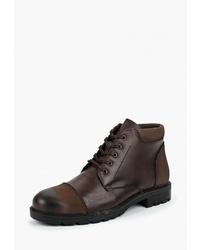 Мужские темно-коричневые кожаные повседневные ботинки от Alessio Nesca