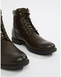 Мужские темно-коричневые кожаные повседневные ботинки от ASOS DESIGN