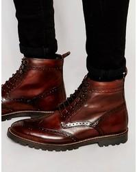 Мужские темно-коричневые кожаные повседневные ботинки от Base London