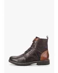 Мужские темно-коричневые кожаные повседневные ботинки от Pier One