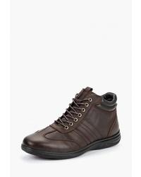 Мужские темно-коричневые кожаные повседневные ботинки от Pierre Cardin