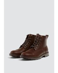 Мужские темно-коричневые кожаные повседневные ботинки от Pull&Bear
