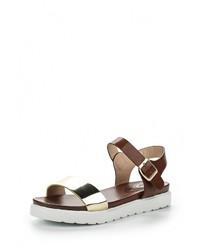 Темно-коричневые кожаные сандалии на плоской подошве от Avenir