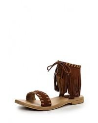 Темно-коричневые кожаные сандалии на плоской подошве от Cuplé
