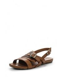 Темно-коричневые кожаные сандалии на плоской подошве от Dino Ricci