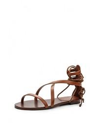 Темно-коричневые кожаные сандалии на плоской подошве от Escada Sport