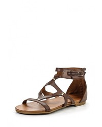 Темно-коричневые кожаные сандалии на плоской подошве от Inuovo