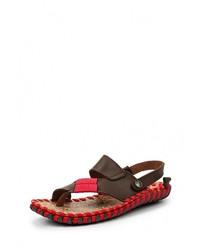 Темно-коричневые кожаные сандалии на плоской подошве от NexPero