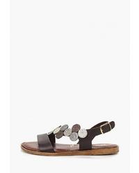 Темно-коричневые кожаные сандалии на плоской подошве от Tamaris
