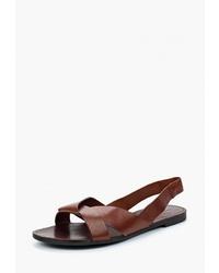 Темно-коричневые кожаные сандалии на плоской подошве от Vagabond