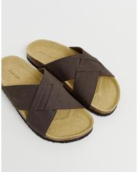 Мужские темно-коричневые кожаные сандалии от Pier One