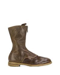 Мужские темно-коричневые кожаные сапоги до колена от Guidi