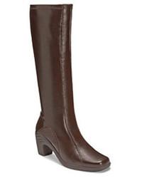 Темно-коричневые кожаные сапоги