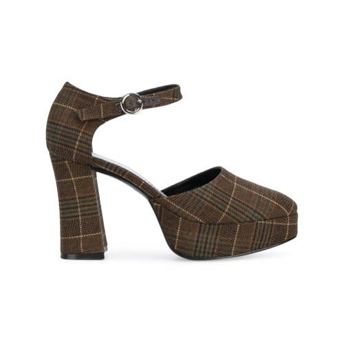 a2f851b51 ... Темно-коричневые кожаные туфли в шотландскую клетку от Nicole Saldaña  ...
