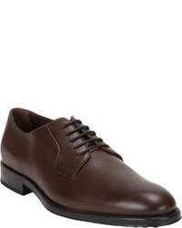 Темно-коричневые кожаные туфли дерби