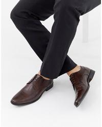 Темно-коричневые кожаные туфли дерби от ASOS DESIGN