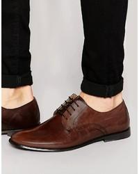 Мужские темно-коричневые кожаные туфли дерби от Asos