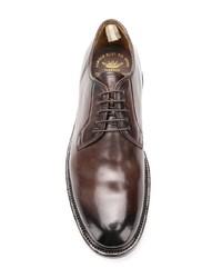 Темно-коричневые кожаные туфли дерби от Officine Creative