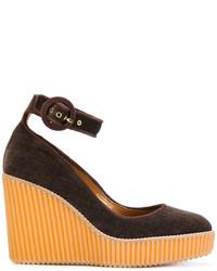 Темно-коричневые кожаные туфли на танкетке от Castaner