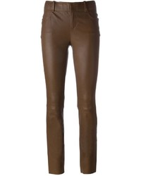 Темно-коричневые кожаные узкие брюки