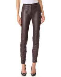 Темно-коричневые кожаные узкие брюки от Just Cavalli