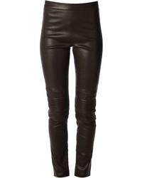 Темно-коричневые кожаные узкие брюки от Neil Barrett