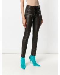 Темно-коричневые кожаные узкие брюки от Unravel Project