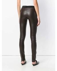 Темно-коричневые кожаные узкие брюки от Drome