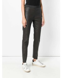 Темно-коричневые кожаные узкие брюки от P.A.R.O.S.H.