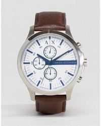 Мужские темно-коричневые кожаные часы от Armani Exchange
