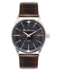 Мужские темно-коричневые кожаные часы от Ben Sherman