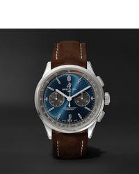 Мужские темно-коричневые кожаные часы от Breitling
