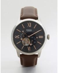 Мужские темно-коричневые кожаные часы от Fossil